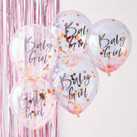 5 Ballons Confetttis Rose Gold et Rose Baby Girl