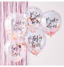 5 Ballons Confetttis Rose Gold et Rose Baby Girl