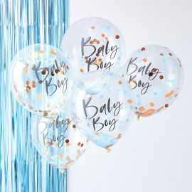 5 Ballons Confetttis Rose Gold et Bleu Baby Boy