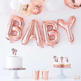 """Ballons Lettres """"Baby """" rose gold - Décoration de salle"""