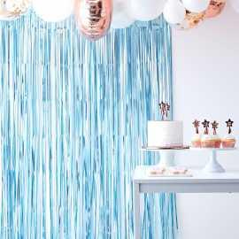 Rideau à Franges Bleu Métallisé - Décoration Sweet Table à suspendre