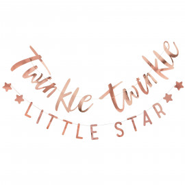 "2 Banderoles ""Twinkle Twinkle"" et ""Little Star"" rose gold - Décoration"
