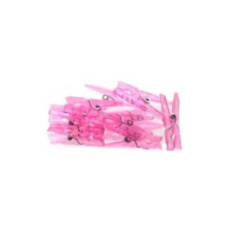 Mini Pinces à Linges Roses Plastiques