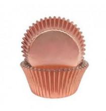 45 Caissettes Cup Cake - Rose Cuivré Rose Gold Uni