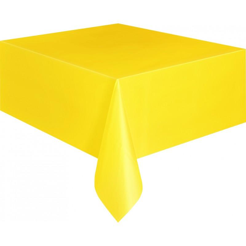 nappe plastique jaune unie lavable pour votre f te. Black Bedroom Furniture Sets. Home Design Ideas