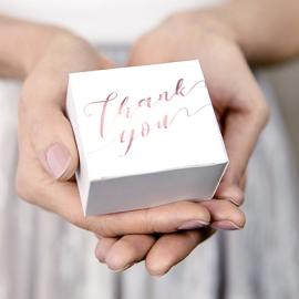 10 Petites Boîtes Cadeaux Invités Thank You Rose Gold / Rose Cuivré Sweet Table