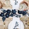 3 Fleurs en Papier à Monter Bleu Marine en Papier Décoration de Fête