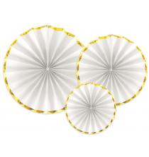 3 Grandes Rosaces Eventail Blanc et Doré Papier Premium