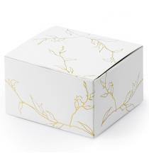 10 Boîtes Cadeaux à Dragées - Blanc et Doré - Feuilles