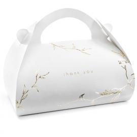 10 Grandes Boîtes Cadeaux à Dragées - Blanc et Doré - Thank you