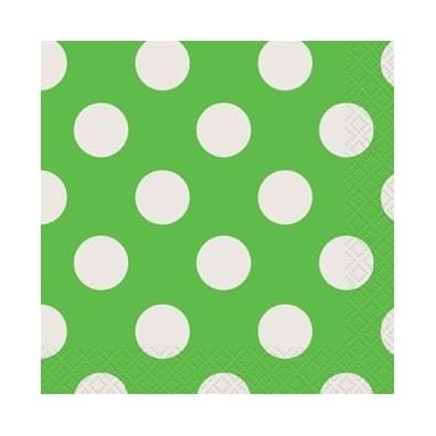 Serviettes Cocktail en Papier Vert à Pois