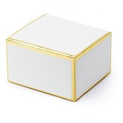 10 Contenants à Dragées Boîtes Blanc et Doré