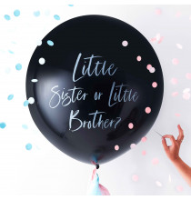 Ballon XXL Annonce du Sexe de Bébé : Little sister or little brother?