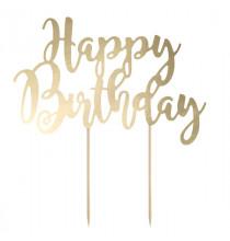 """¨Pique pour Gateau """"Happy Birthday"""" Doré Métallisé Fête d'Anniversaire enfant"""