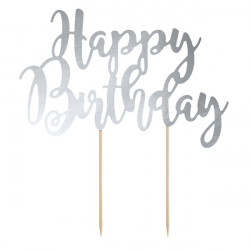 """Pique pour Gateau """"Happy Birthday"""" Argent Métallisé Fête d'Anniversaire enfant"""