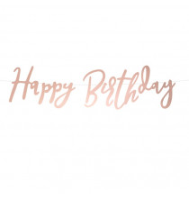 Banderole Happy Birthday Papier Premium Rose Gold Rose Cuivré