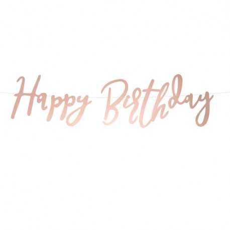 Banderole Happy Birthday Papier Premium Rose Gold Rose Cuivré