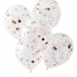 Ballons Confettis Fleuris Liberty Rose Gold - Collection décoration florale pastel