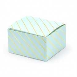 10 Contenants à Dragées Boîtes Bleu Pastel et Doré