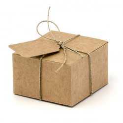 10 Boîtes à Dragées Kraft + Etiquettes - Boîtes Cadeaux Invités