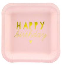Petites Assiettes Anniversaire Carré Rose Pastel Happy Birthday