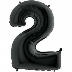Ballon XL en Alu Deux - 2 Chiffre Noir
