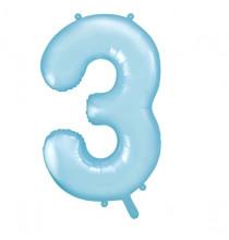 Ballon Géant Alu Bleu Clair 3 Ans Fête d'Anniversaire