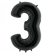 Ballon XL en Alu Trois - 3 Chiffre Noir