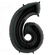Ballon XL en Alu Six - 6 Chiffre Noir Anniversaire