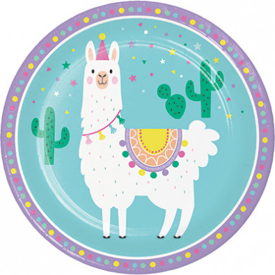 Grandes assiettes thème Lama et Cactus - Anniversaire pour enfant