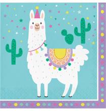 Serviettes en papier thème Lama et Cactus - Anniversaire pour enfant