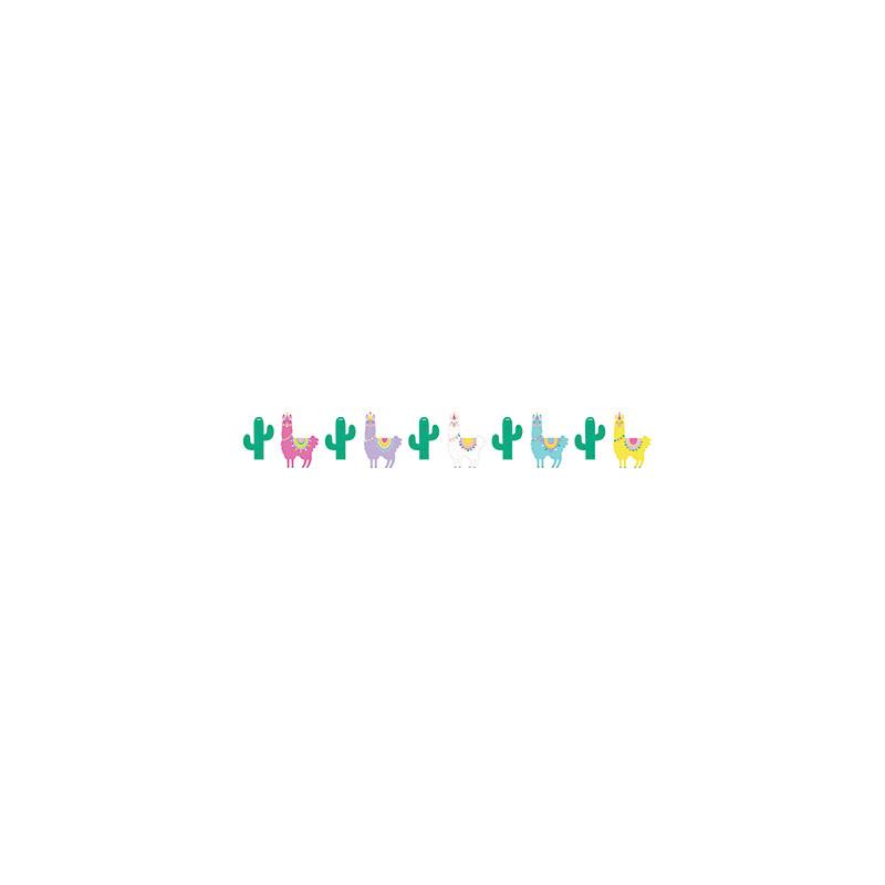 Banderole à Fanions Anniversaire Thème Lama Cactus Pour Enfant