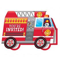 Invitation en forme de Camion de Pompier - Anniversaire pour enfant