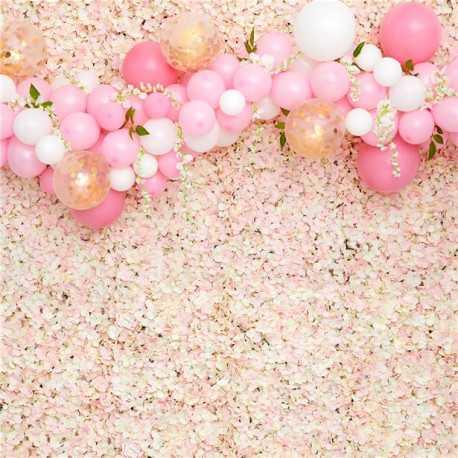 Grand Panneau pour Mur de Fleurs Rose & Blanc - Rideau Backdrop