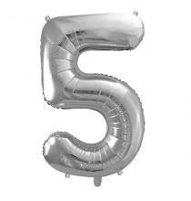 Ballon Géant Chiffre 5 Cinq - Numéro Décoration Anniversaire Argent