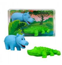 2 Gommes Crocodile et Hippopotame - Animaux de la savane safari