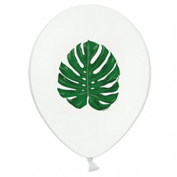 5 Ballons Latex Feuilles Jungle Vert Foncé - Sérigraphie All Around Tropical