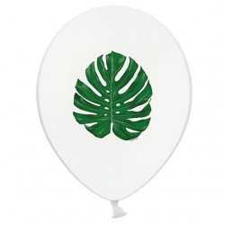 5 Ballons Latex Feuilles Jungle Vert Foncé - Sérigraphie All Around Tropical