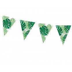 Banderole à Fanions Feuilles Jungle En Papier Vert Foncé