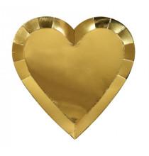 Grandes Assiettes Coeur Doré Or - Vaisselle Jetable Premium