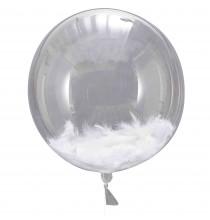 3 Ballons XXL Transparents Plumes Blanches Party Anniversaire Enfant
