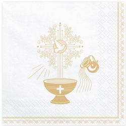 Serviettes Baptême Blanches et Dorées En Papier Fête Religieuse