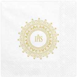 Serviettes Croix IHS Blanc et Doré En Papier Fête Religieuse