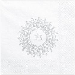 Serviettes Croix IHS Blanc et Argent En Papier Fête Religieuse