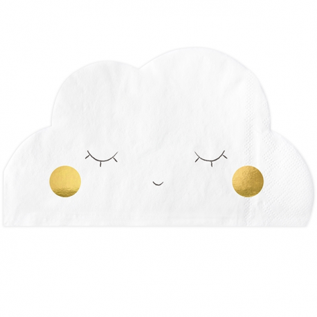 20 Serviettes en forme de nuage blanc et doré pour Candy bar