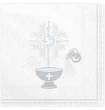 Serviettes Baptême Blanches et Argent En Papier Fête Religieuse