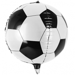 Ballon Foot Rond à gonfler Football Noir et Blanc en Alu Hélium
