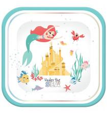 Grandes Assiettes Carré Ariel Petite Sirène - Disney Premium