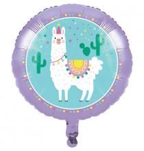 Ballon Alu Rond Lama et Cactus - Anniversaire pour enfant