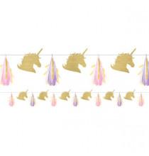 Banderole Tête de Licorne Dorée et Tassels - Anniversaire